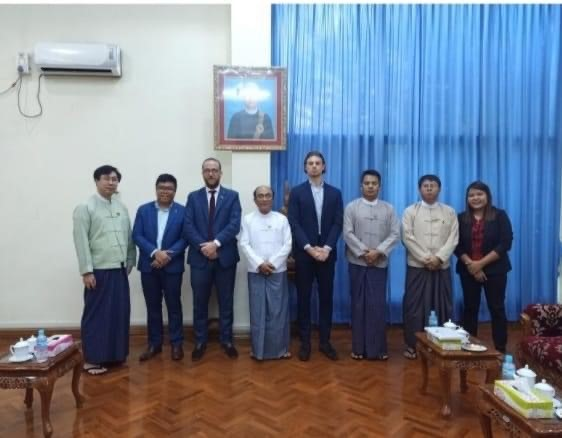 Discussing with Bel Ga Myanmar, Euro Cham Myanmar and Permanent Secretary From Ministry of Agriculture, Livestock and Irrigation